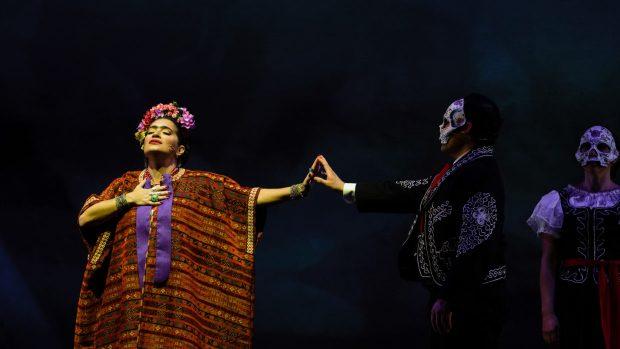 Catalina Cuervo as Frida, Adrian Rosales-Casillas as Calaveras, and Rachel Hauge as Calaveras in Portland Opera's production of Frida. Photo by Trace Downen.