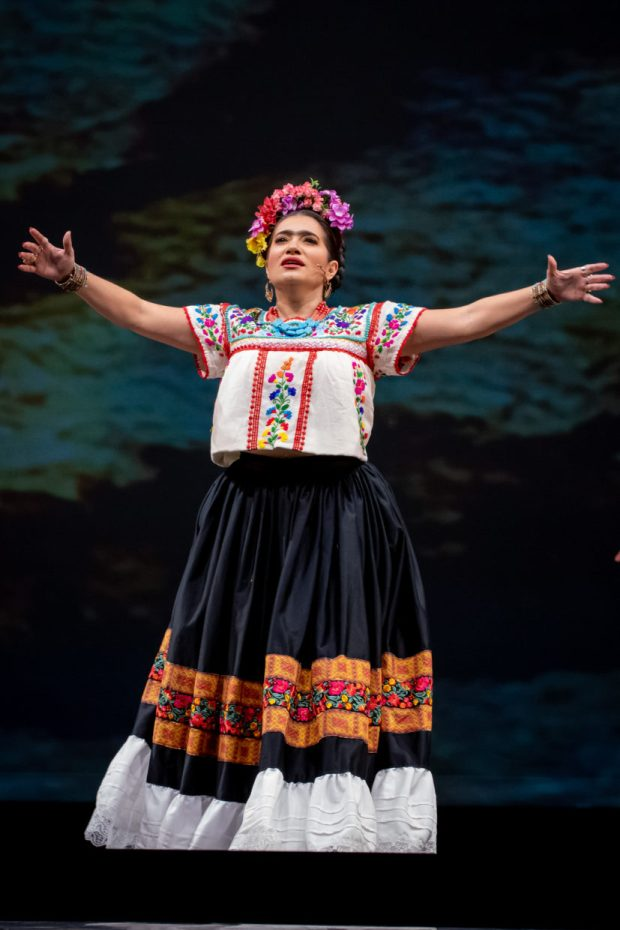 Catalina Cuervo in the title role of Portland Opera's production of Frida. Photo by Trace Downen.