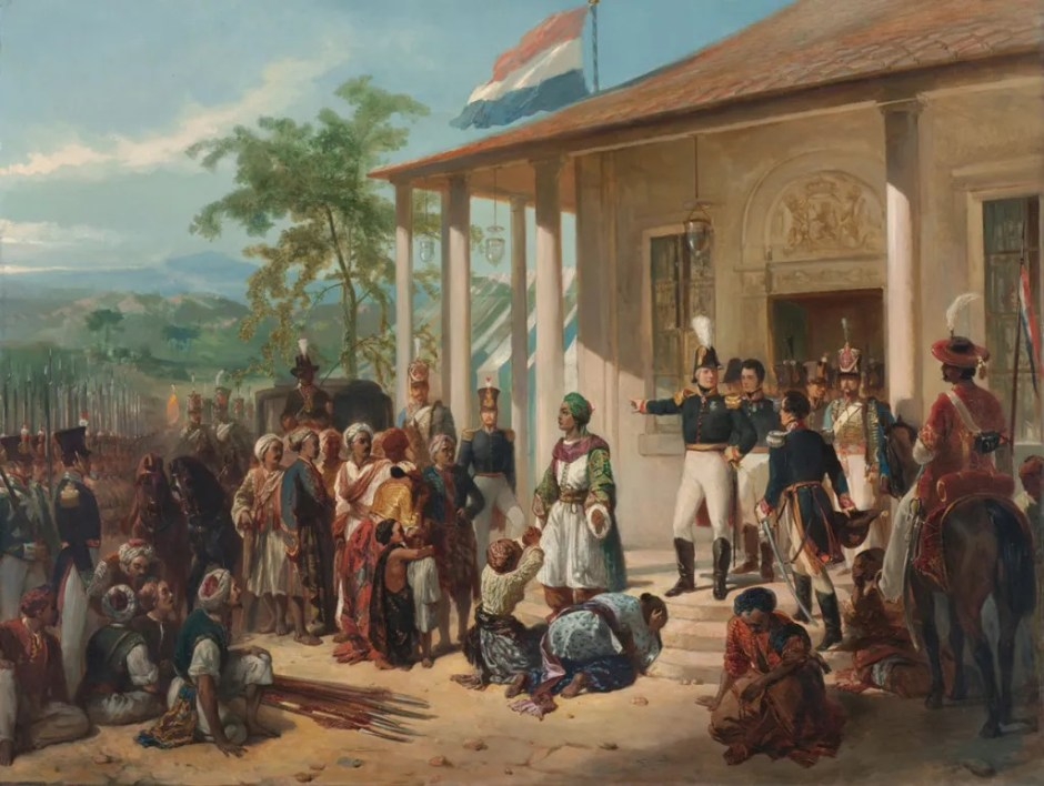 """Nicolaas Pieneman's painting, """"The Arrest of Diepo Negoro by Lieutenant-General De Kock,"""" (ca. 1830-1835, Rijksmuseum, Amsterdam) depicts the colonial Dutch view of Indonesians peacefully submitting to the victorious Netherlands. Prince Diepo Negoro, a Javanese leader in the war, and his followers bow in submission to the officers from the Netherlands while the Dutch flag flies above."""
