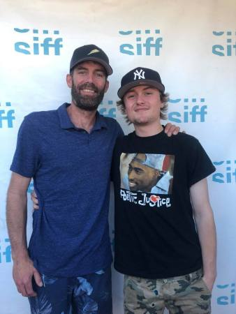 """Ryan Findley and his son, Jaquin, attended the Seattle International Film Festival for the screening of """"Summer Lightning,"""" a 12-minute short about baseball, that both appeared in."""
