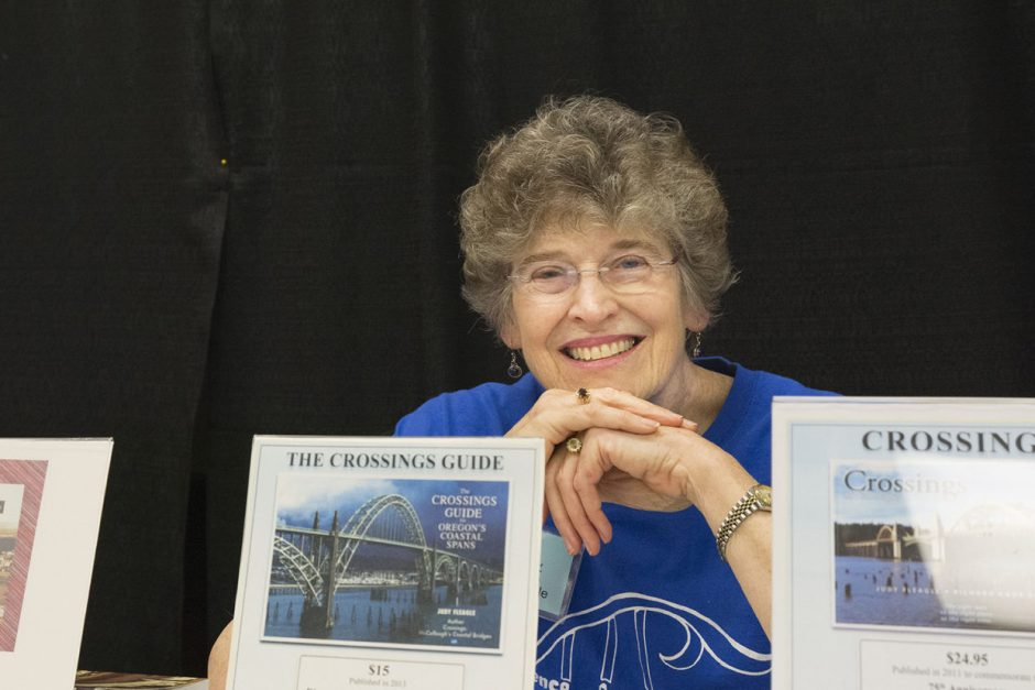 """Besides co-founding the Florence Festival of Books, Judy Fleagle is known as the """"bridge lady of the Oregon Coast"""" for a pair of books she has written on coastal spans. Photo courtesy: Florence Festival of Books"""