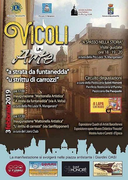 """Barcellona PG. """"Vicoli in Arte"""" con Lions Club e Pro Loco """"A. Manganaro"""""""