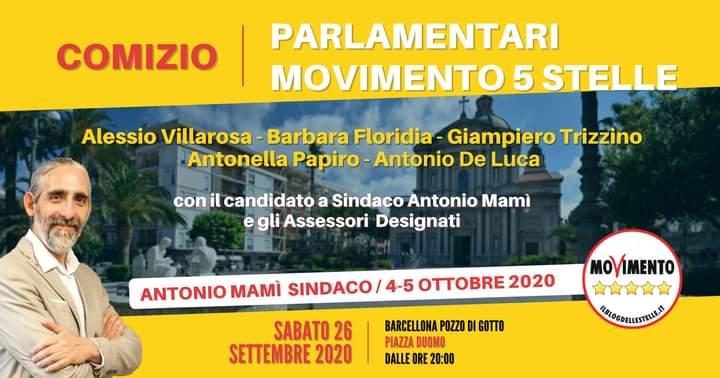 Il Movimento 5 Stelle incontra i cittadini di Barcellona Pozzo di Gotto. Comizio insieme a Mamì e visita di Luigi Di Maio