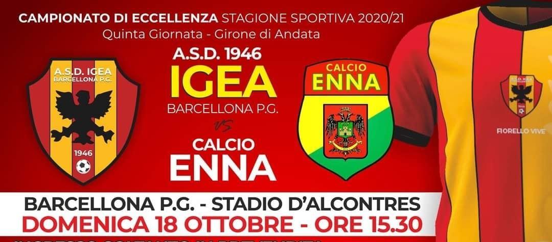 """Calcio. Eccellenza, Igea vs Enna: """"Tutti allo stadio, nel rispetto norme anti-Covid"""""""