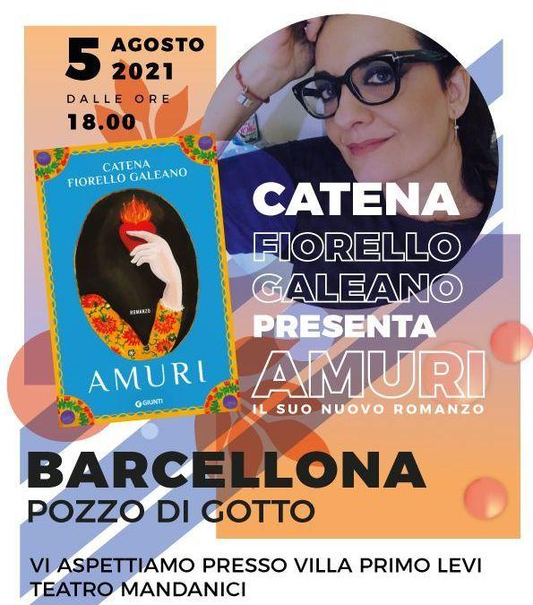 """Barcellona PG. Catena Fiorello Galeano presenta suo nuovo romanzo """"Amuri"""" alla Villa """"Primo Levi"""""""