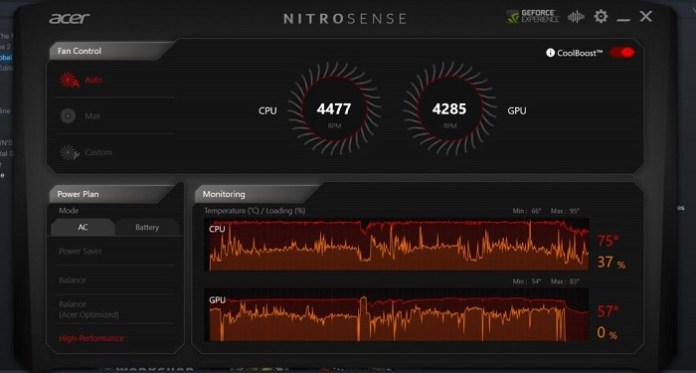 Acer-Nitro-7 fans operate at a speed of 2100-2600 rpm
