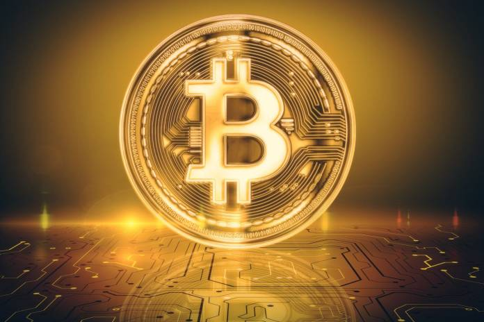 Picture of a bitcoin with a gold hue