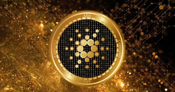 Picture of a gold and black Cardano coin with gold sparks behind it