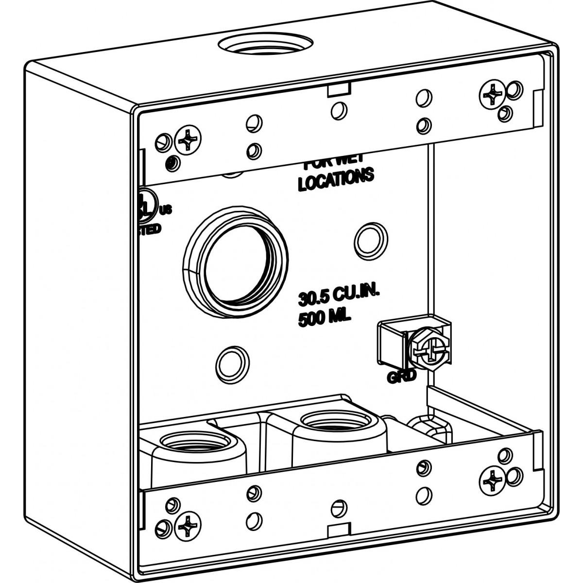 2 Gang Electrical Box Drawing
