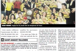 0512; Pages locales La Montagne, article annoncant la constitution d'une Amicale des Ex du rugby de Romagnat