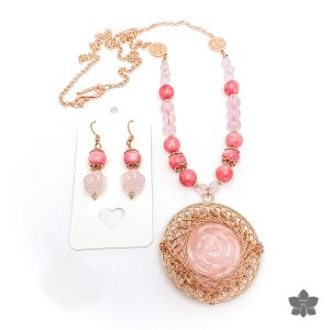 carved rose quartz pendant necklace set