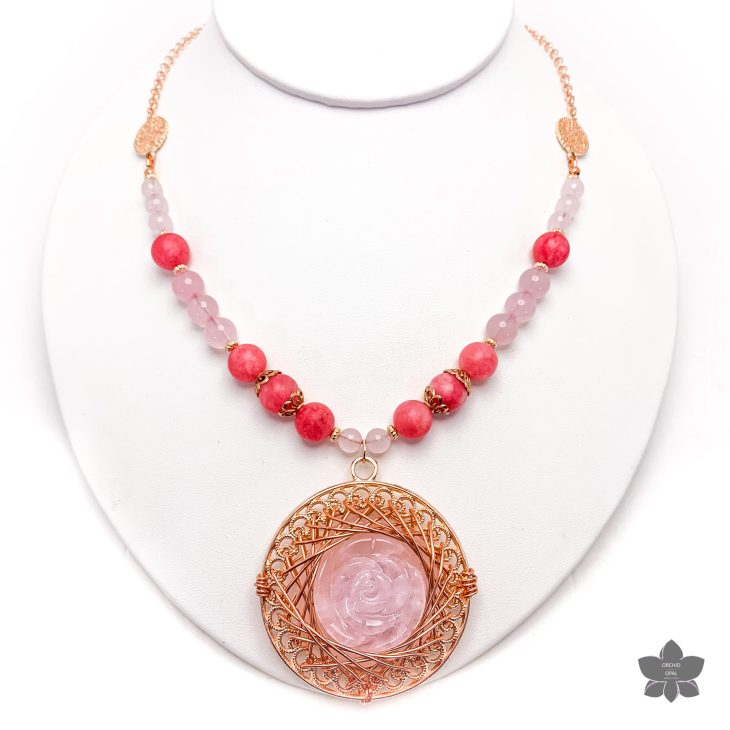 carved rose quartz pendant necklace set