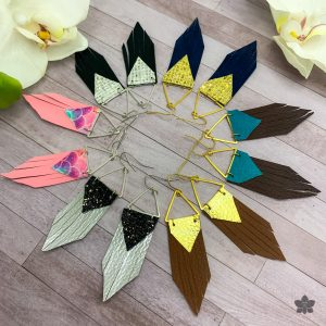 faux leather triangle fringe earrings