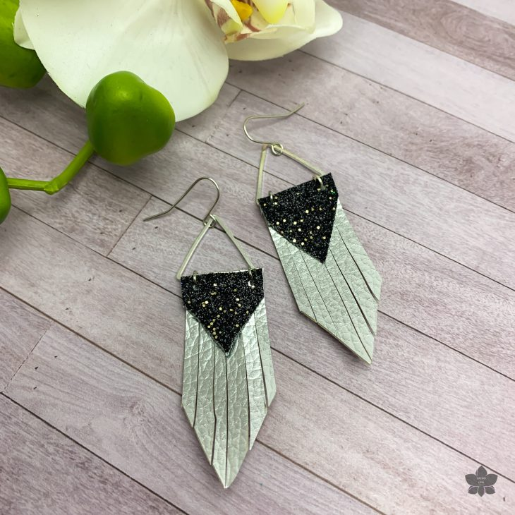 Faux Leather Earrings Triangle Fringe-5