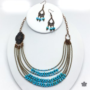 turquoise and bronze multistrand necklace set