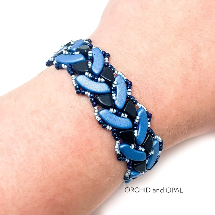 Braided Quadbow Bracelet Orchid and Opal blue and black