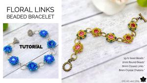 Floral Links Chaton Bezel Beaded Bracelet Tutorial