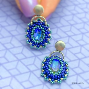 Golden Hour Crystal Beaded Earrings - Royal Blue