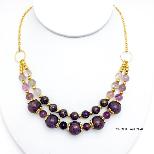 beaded two strand mountain jade and fluorite beaded necklace