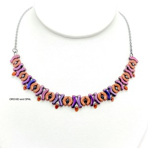 garland beaded necklace - copper/purple iris