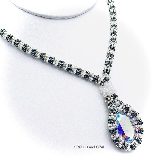prismatic swarovski oval necklace white