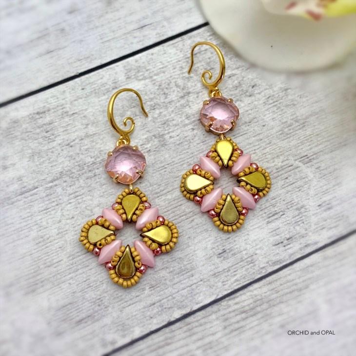 aegean breeze beaded earrings pink
