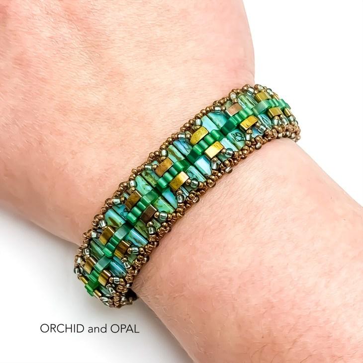 Pleated Tila Beaded Bracelet - Turquoise/Bronze