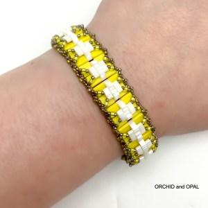 yellow pleated tila bracelet