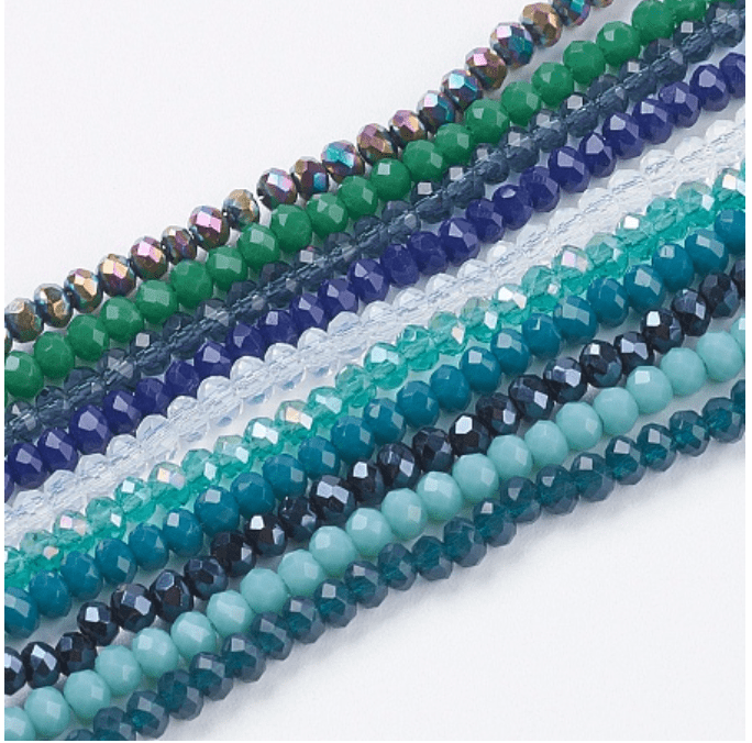 30-Strands Assorted 3x2mm Glass Rondelle Beads