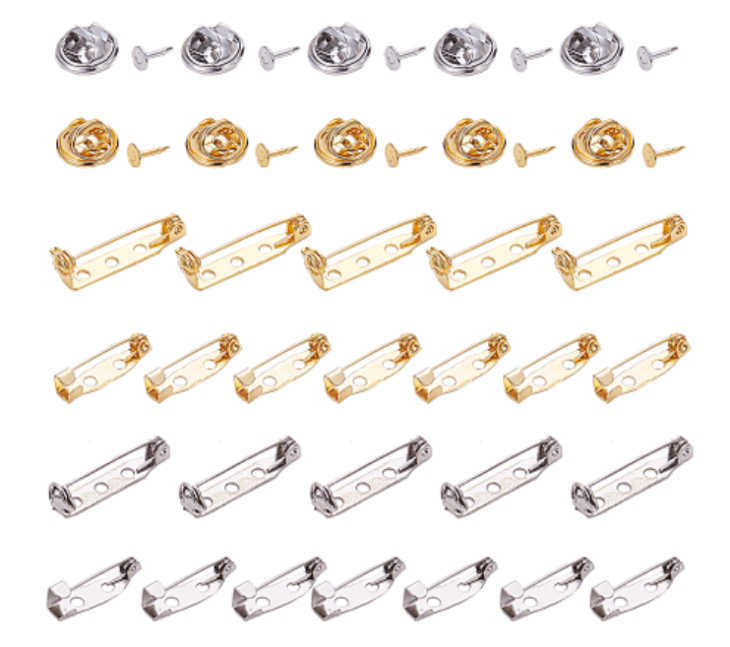 Silver and Gold Pin Findings Set