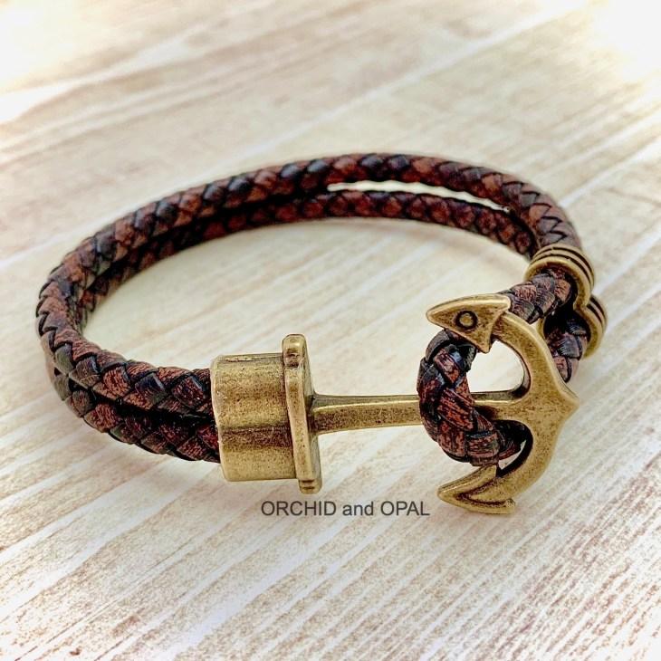mens handmade leather anchor bracelet