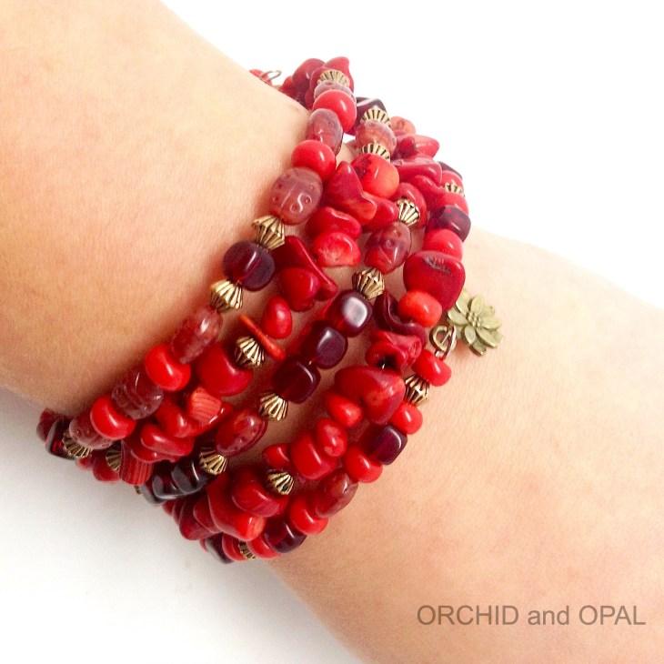 gemstone chip memory wire bracelet