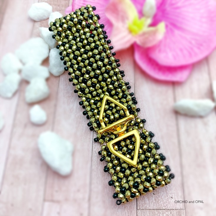 black and gold crystal flat chenille stitch bracelet