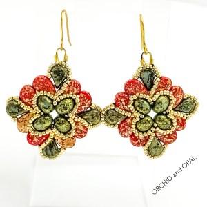 paisley flourish earrings red