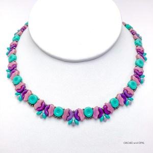butterfly garden necklace purple