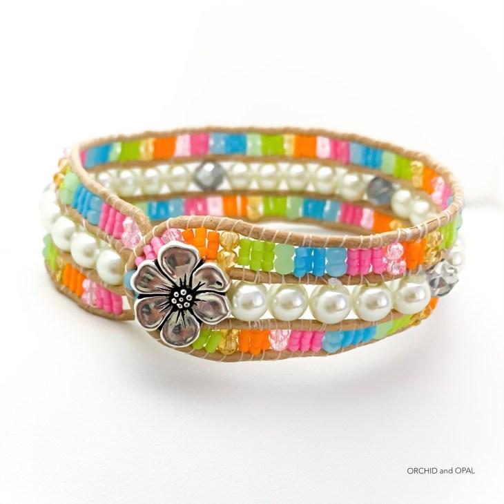 three row beaded cord cuff bracelet fun in the sun