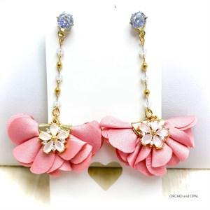 Pink and Gold Fan Flower Earrings