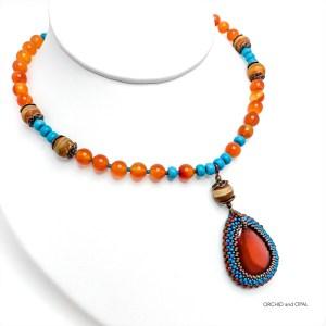 Carnelian Orange and Teal Beaded Pendant Necklace