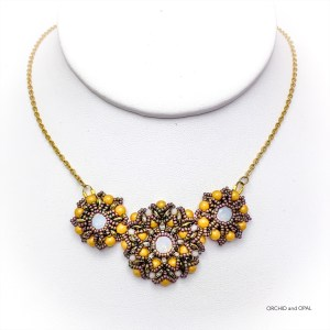 Spring Blossoms Beaded Necklace - Gold