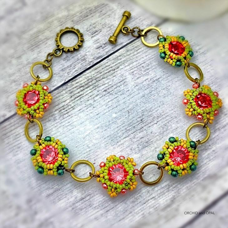 floral links chaton beaded bezel bracelet pink