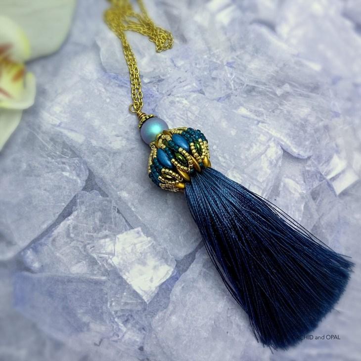 cameleon beaded tassel necklace