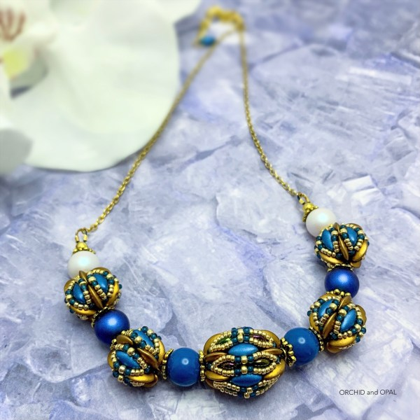 chameleon beaded bead small necklace