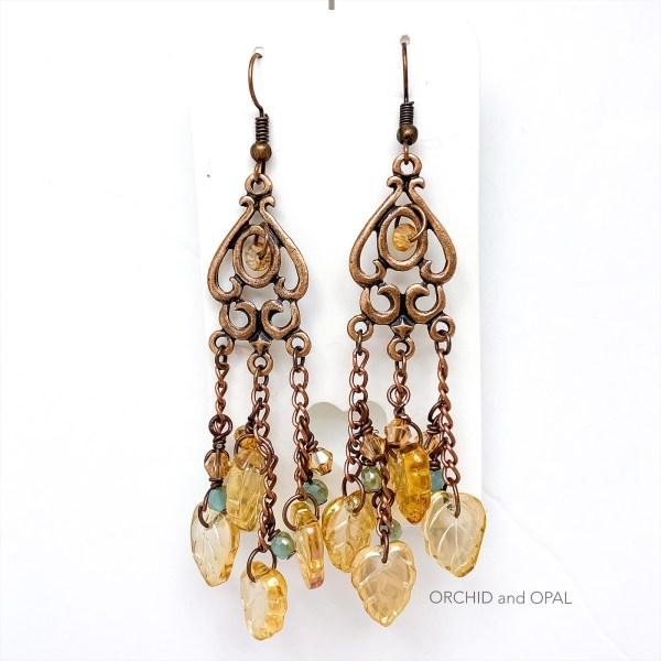copper and leaf chandelier earrings