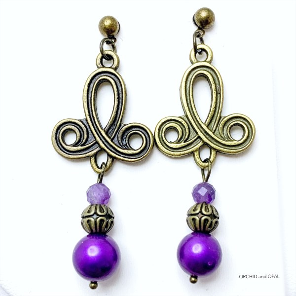 Purple Pearl and Antique Brass Multistrand Pendant Necklace Set