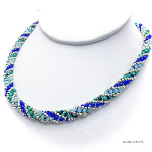 blue and turquoise beaded spiral rope necklace