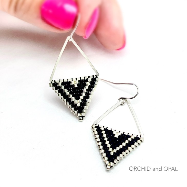 Brick Stitch Earrings Diamond on Triangle Frame
