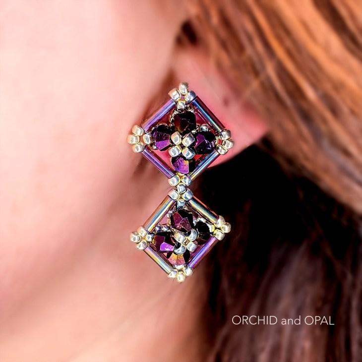 double diamond bugle and bicone beaded earrings tutorial