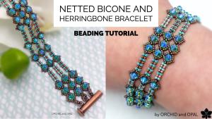 herringbone and bicone netting bracelet tutorial