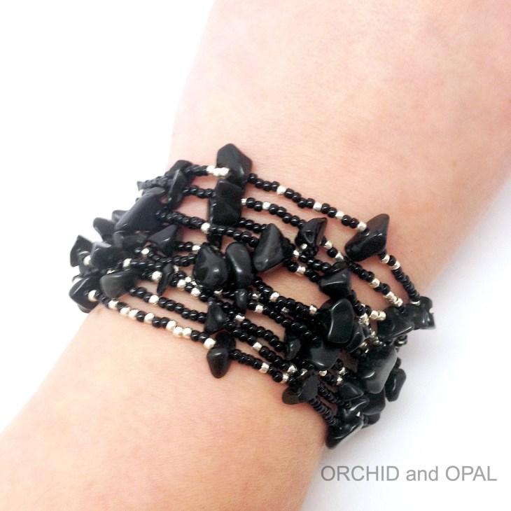 Black Multi Strand Gemstone Chip Bracelet