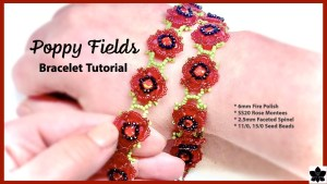 poppy fields beaded bracelet tutorial